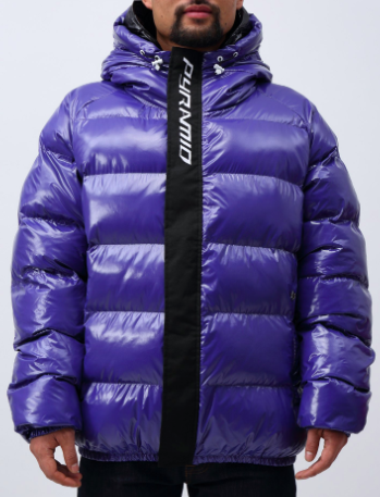 Blue zip taped placket puffy jacket from blackpyramidclothing.com