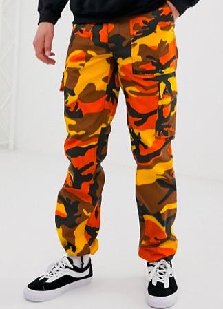Orange camo cargo pants from asos.com