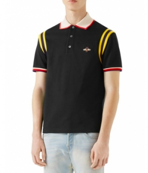 Gucci striped sleeve polo shirt in black from billsoutlets.com