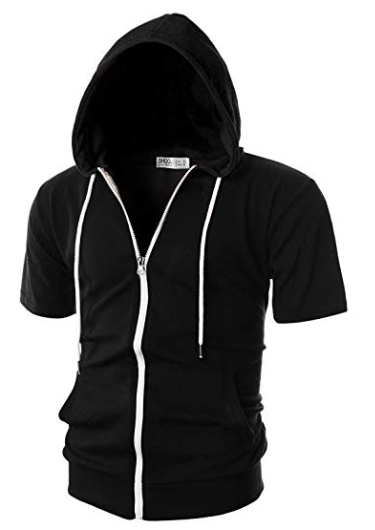Slim-fit black hort sleeve hoodie with pockets from amazon.com
