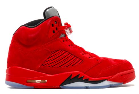 """Air Jordan 5 Retro """"Red Suede"""" sneakers from flightclub.com"""