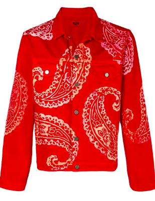 Red print paisley denim jacket from farfetch.com