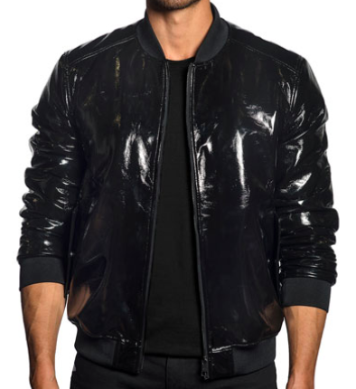 Patent Faux-Leather Bomber Jacket