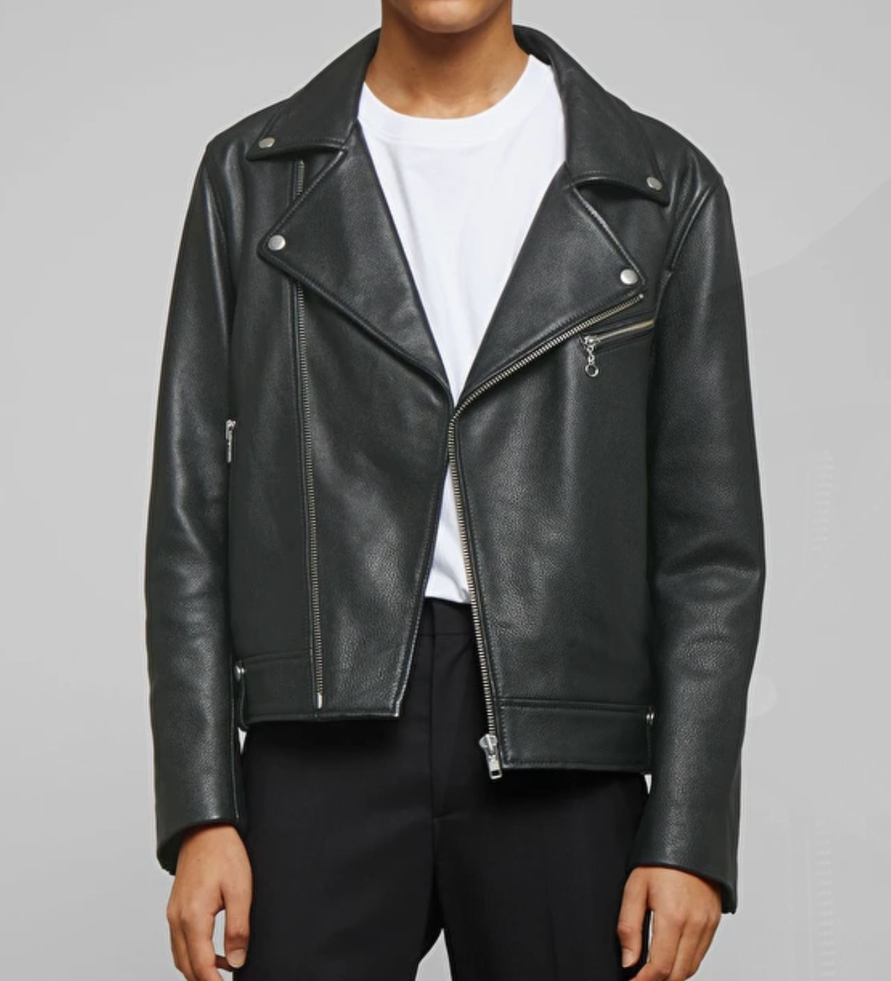 Plain Black Leather Jacket from weekday.com