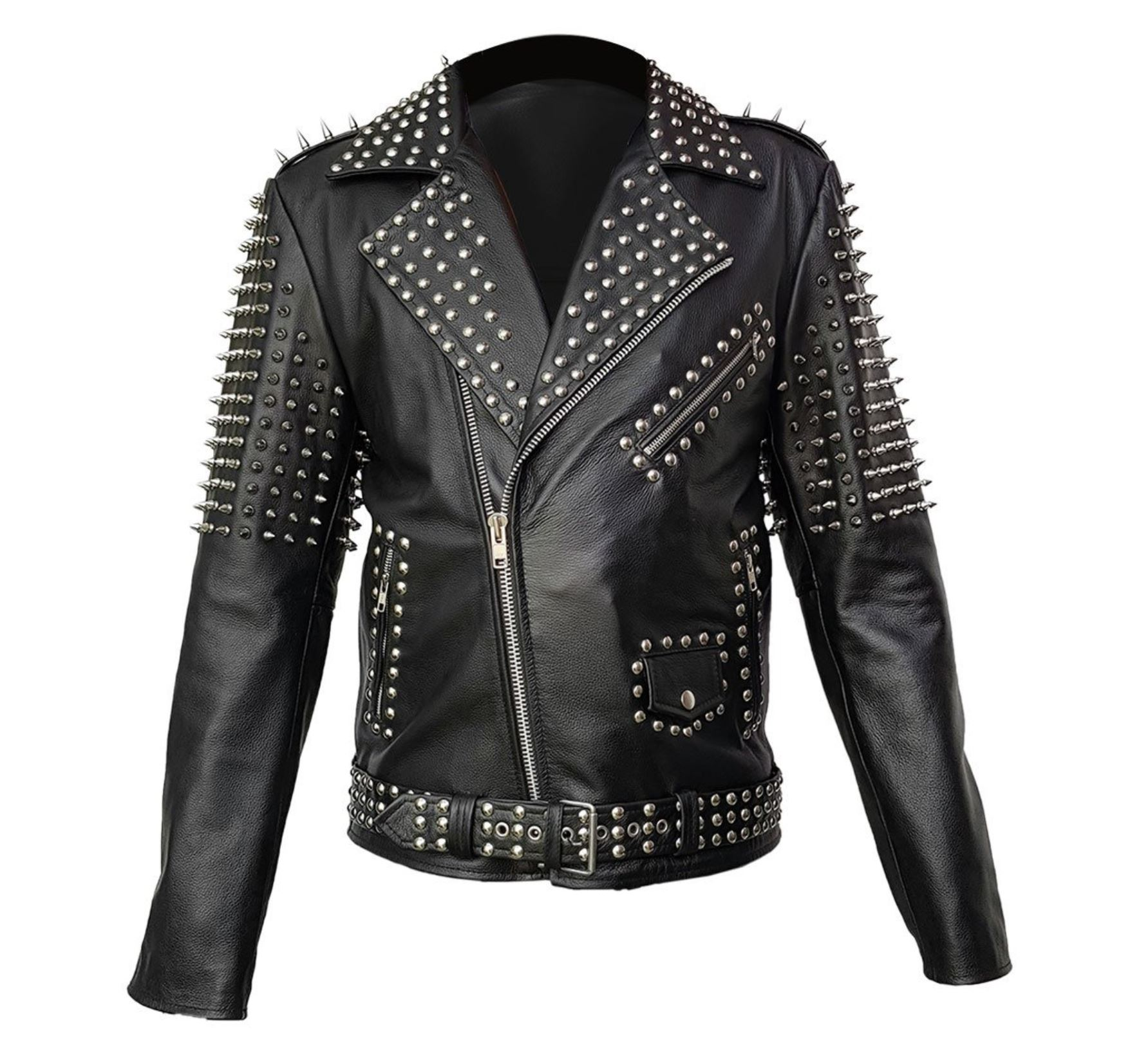 Studded Leather Biker Jacket from amazon.com