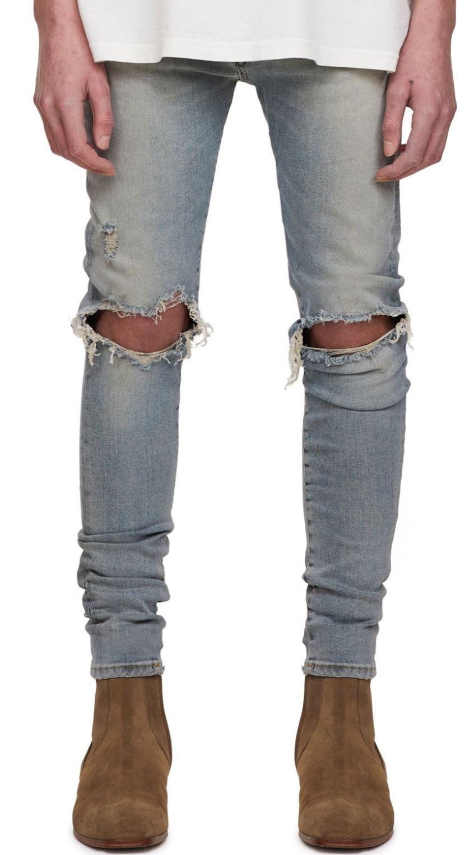 Ripped Blue Denim Jeans from representclo.com