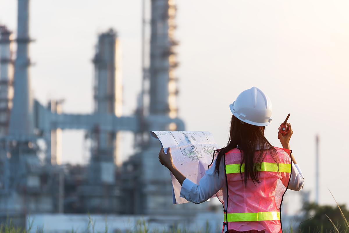 Image of female engineer doing a site inspection