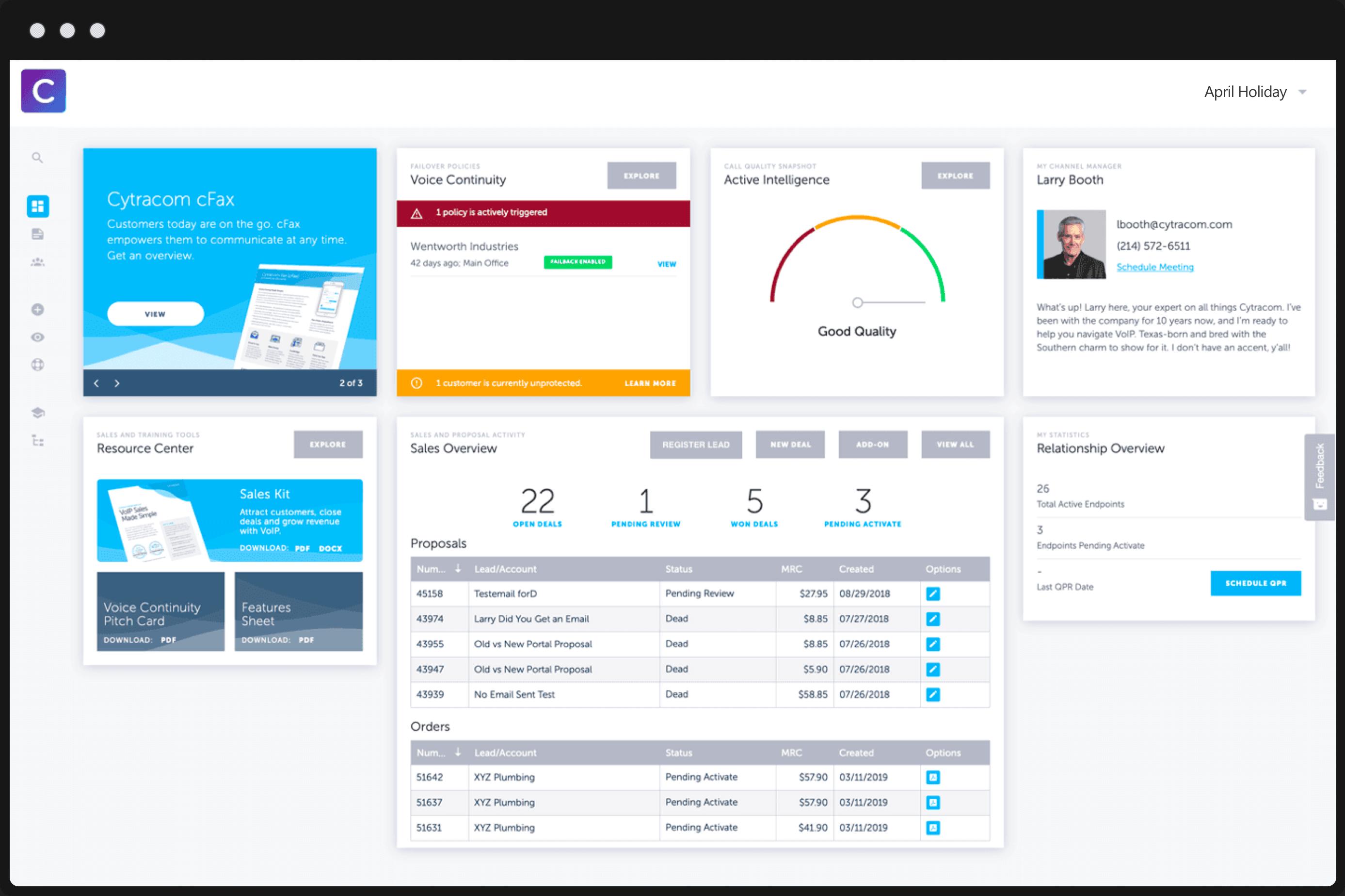 Cytracom Interactive Partner Dashboard