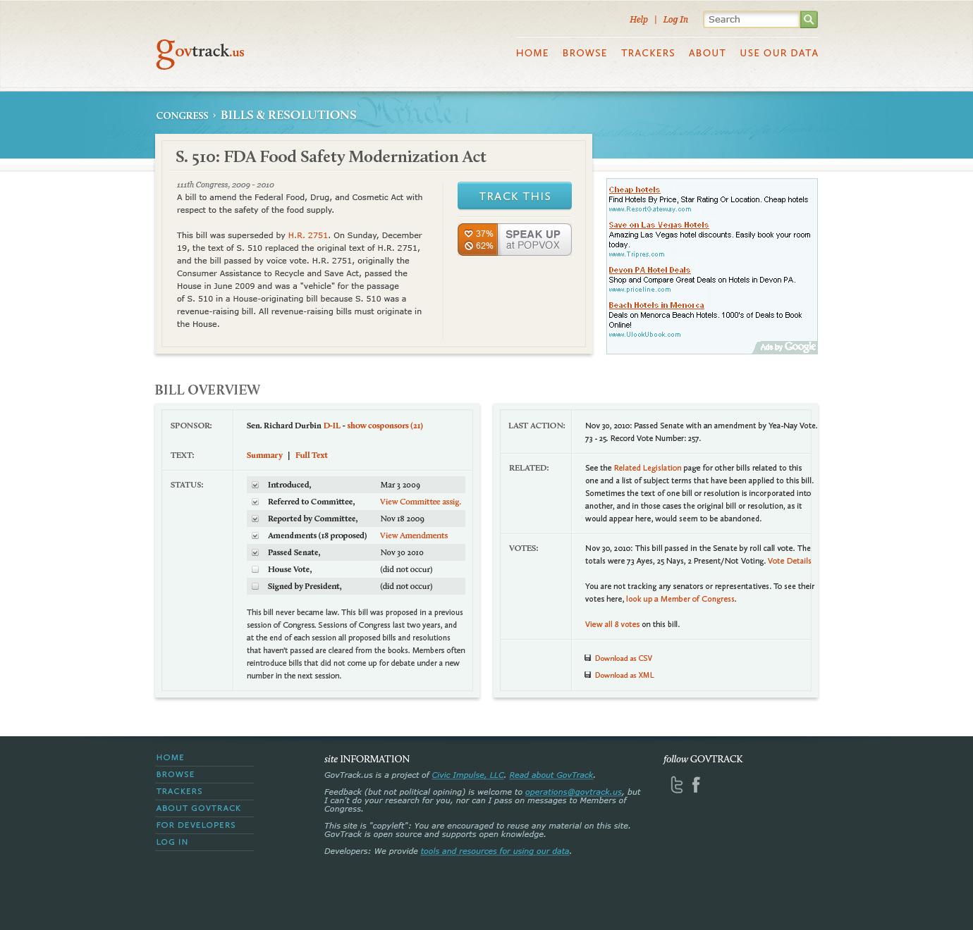 Govtrack bill view page