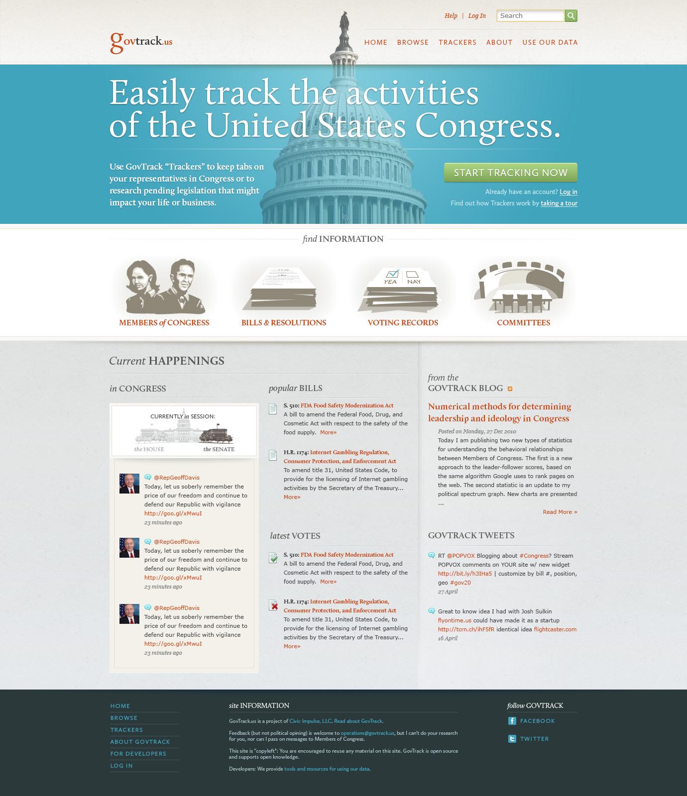 Govtrack home page design