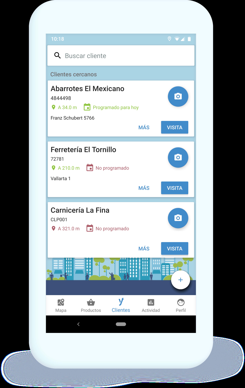 Dispositivo móvil con información de clientes cercanos