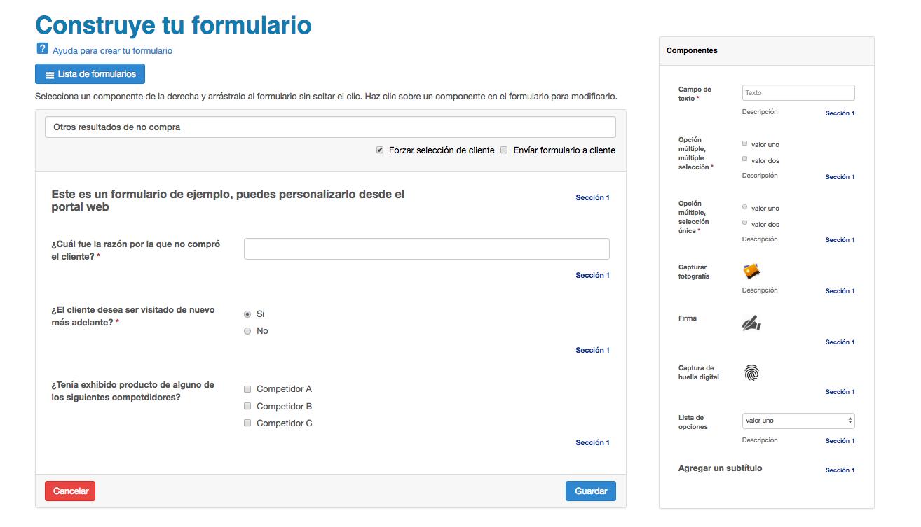 Pantalla de creación de formularios personalizados