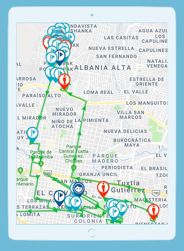 Tablet con mapa mostrando la localización de las visitas a clientes