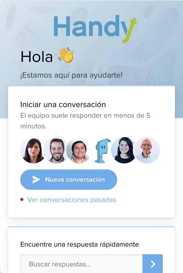 Chat de contacto con el equipo soporte