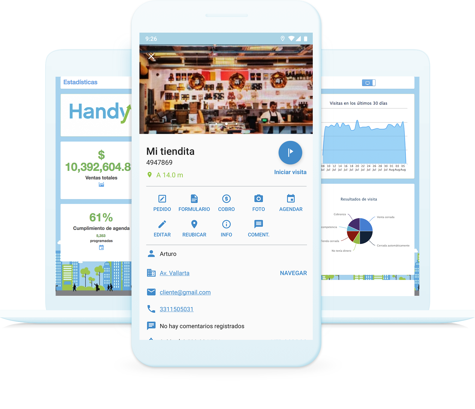 Dispositivos móvil y laptop mostrando información relevante del proceso de ventas