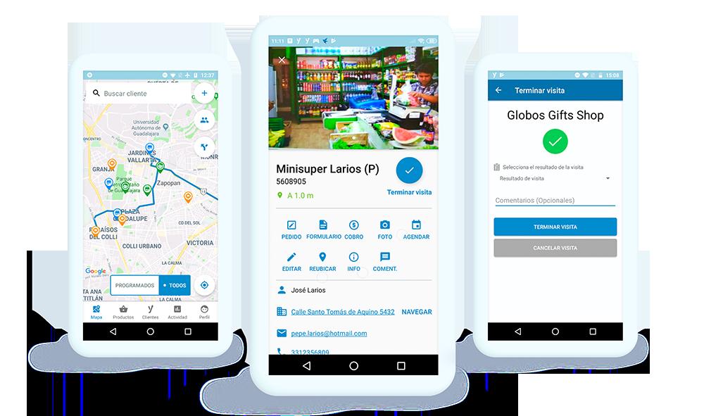 Dispositivos móviles mostrando pantallas del proceso de ventas con Handy
