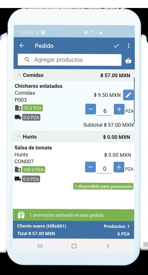 Dispositivo móvil con información de la actividad del vendedor