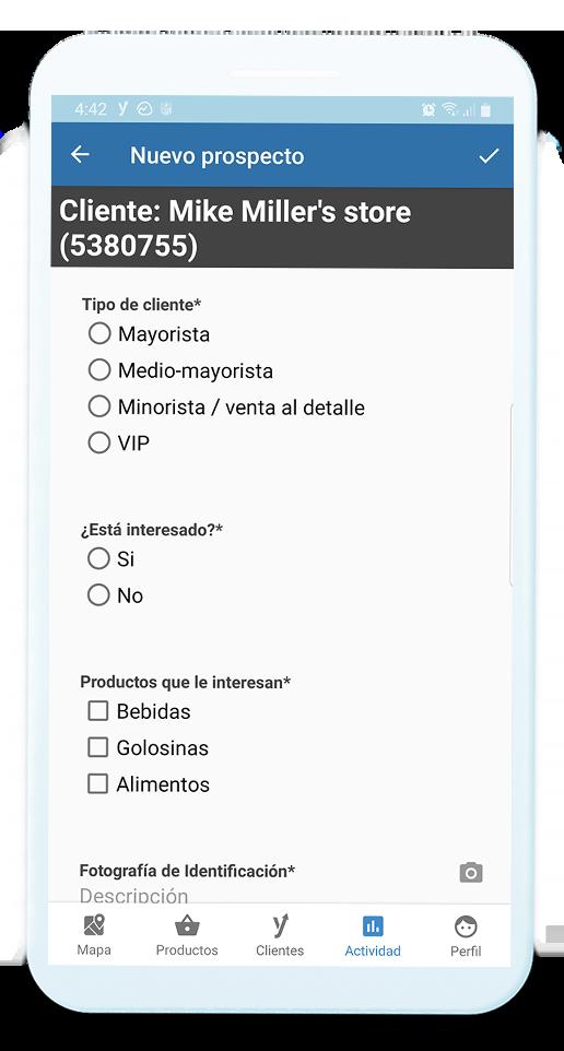 Dispositivo móvil mostrando un formulario realizado a un cliente