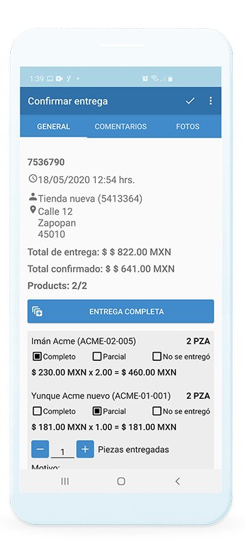 Dispositivo móvil mostrando pantalla de Handy con información de cliente