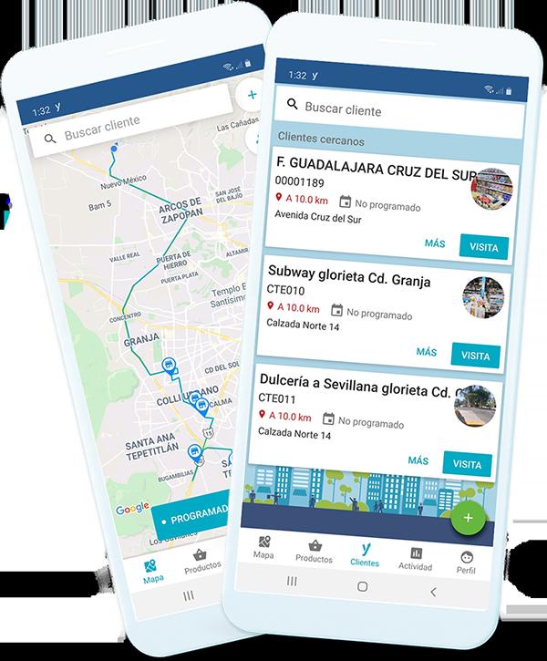 Dispositivos móviles mostrando información de los clientes
