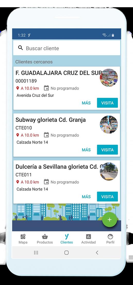 Dispositivo móvil mostrando los clientes cercanos a la ubicación del usuario