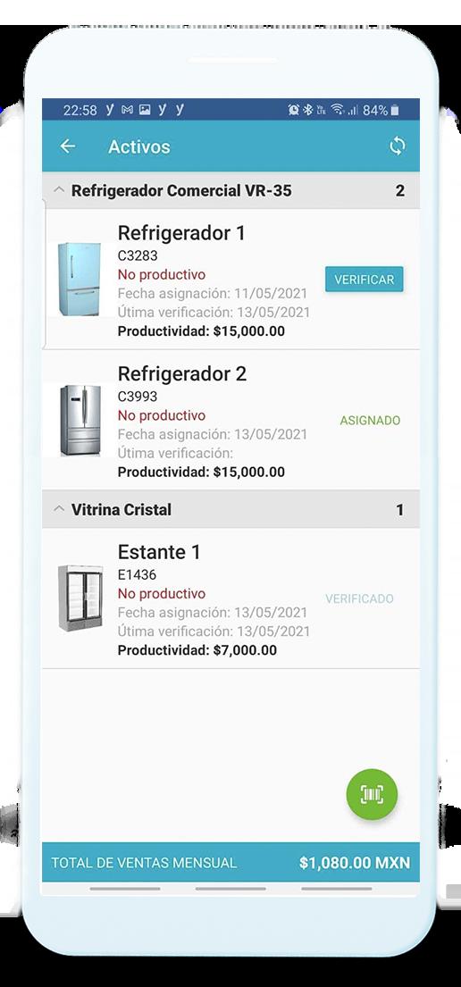 Pantalla de pedidos en la aplicación web