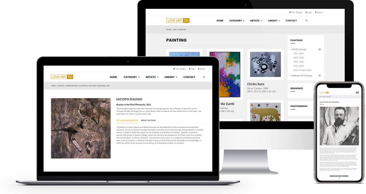 Live Art TV marketplace development for selling art and antiques online