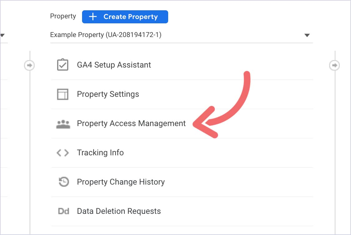A screenshot of the GA interface. There's a pink arrow pointing at the Property Access Management text.