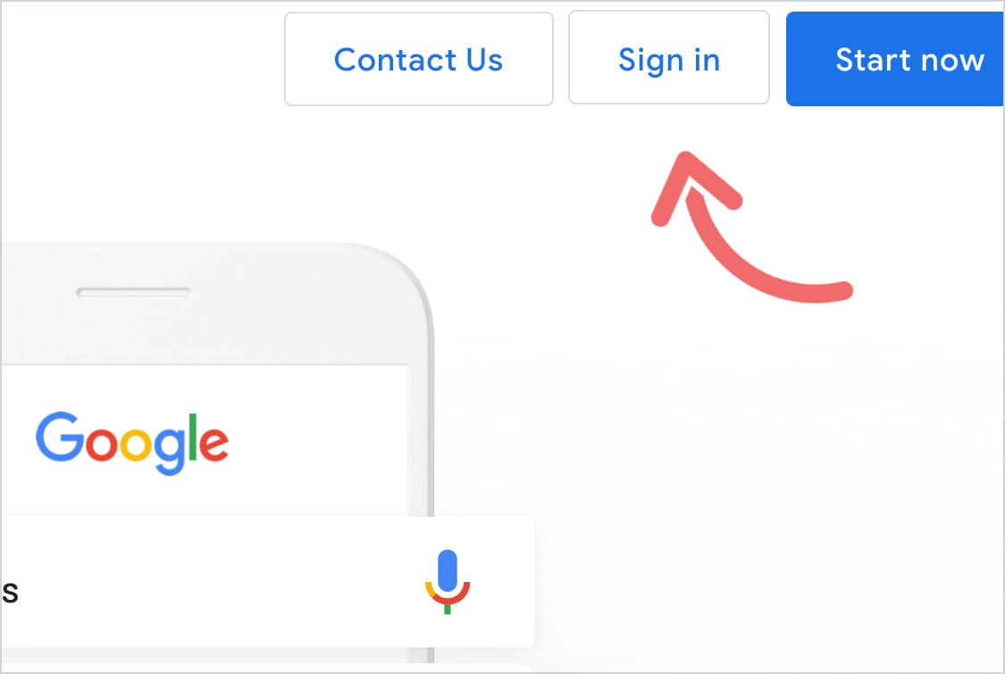 Arrow pointing at the sign-in button for the Google Ads homepage.
