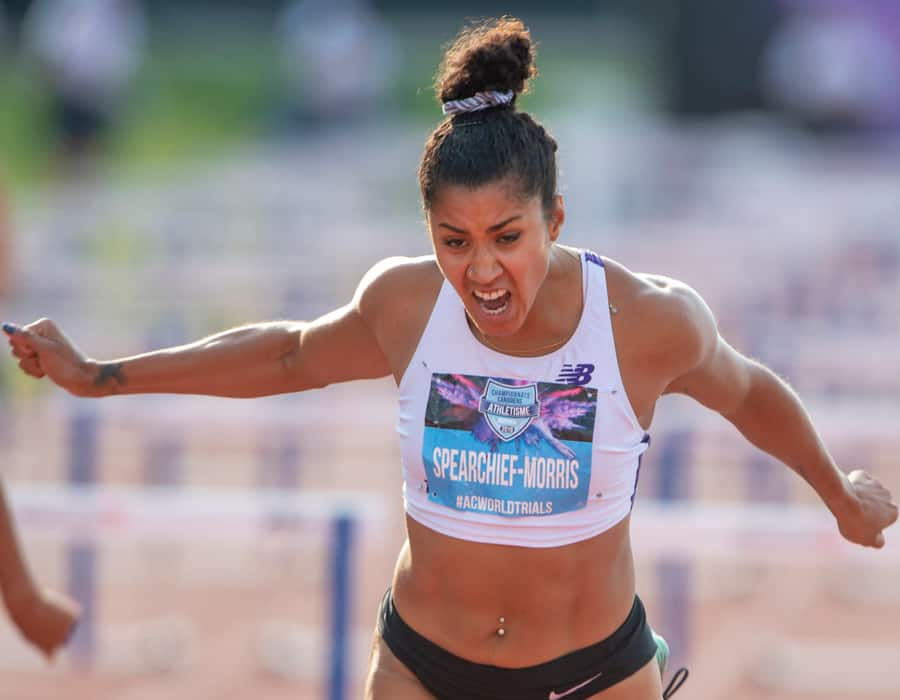 Joy SpearChief-Morris at the 2019 Canadian track and field championship  in Montreal. (Canadian Press)