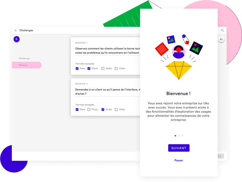 Un écran de bienvenue Uko devant la plateforme permettant de créer des challenges
