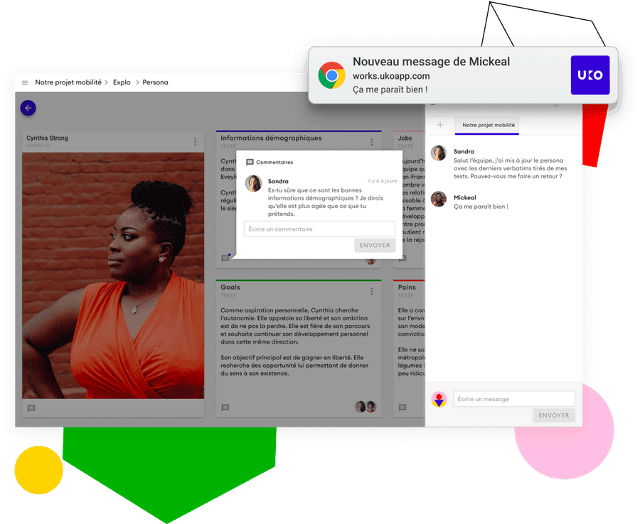 Un chat de conversation, une fonctionnalité de commentaires et des notifications permettent de collaborer en équipe sur Uko