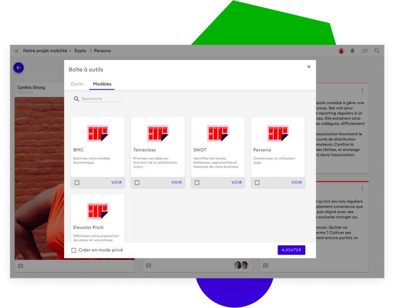 La boîte à outils propose des modèles de canvas à utiliser sur les projets