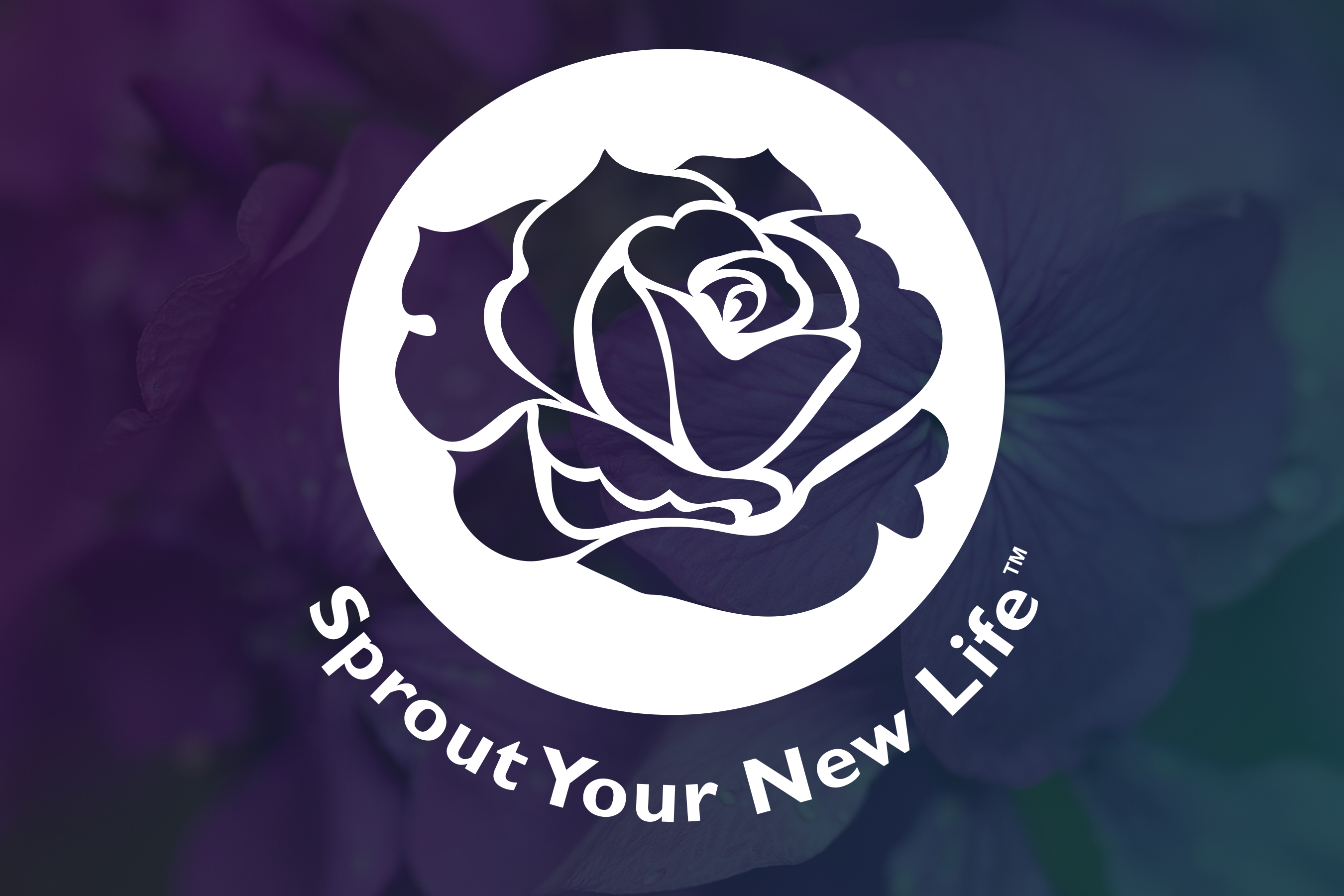 Sprout Your New Life logo on a gradient background