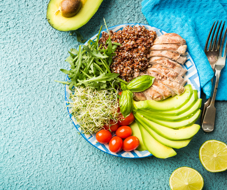 A balanced meal plate of health foods