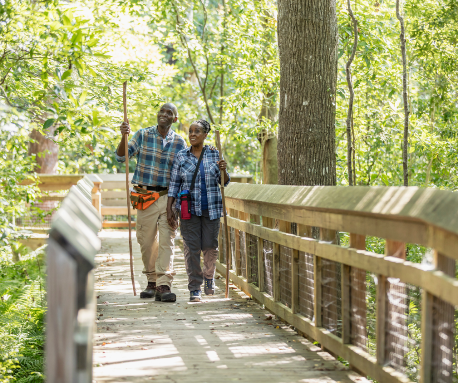 A couple walking across a constructed walkway in the forest