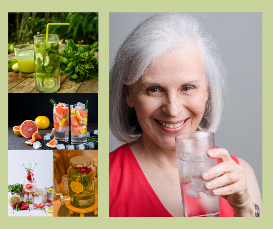A collage of of healthful drinking water options including a woman holding a glass of water