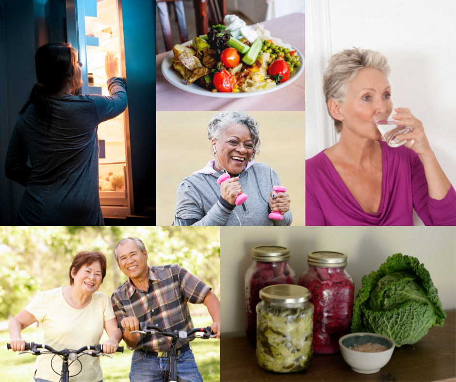 A collage of healthy lifestyle habits