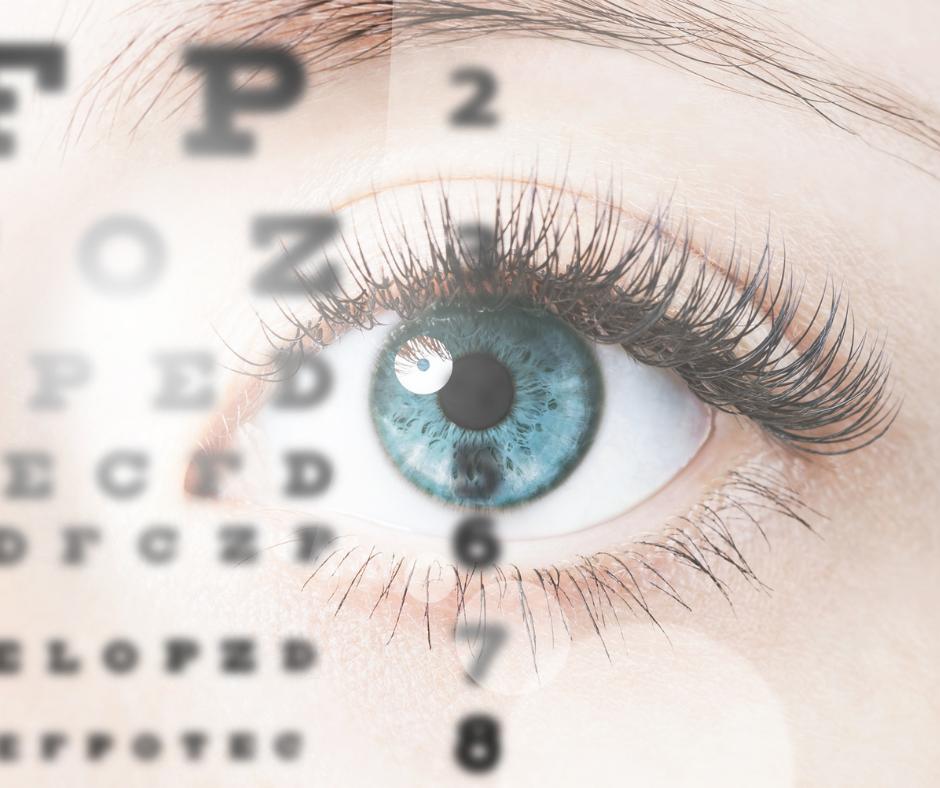 One blue eye set within an eye chart