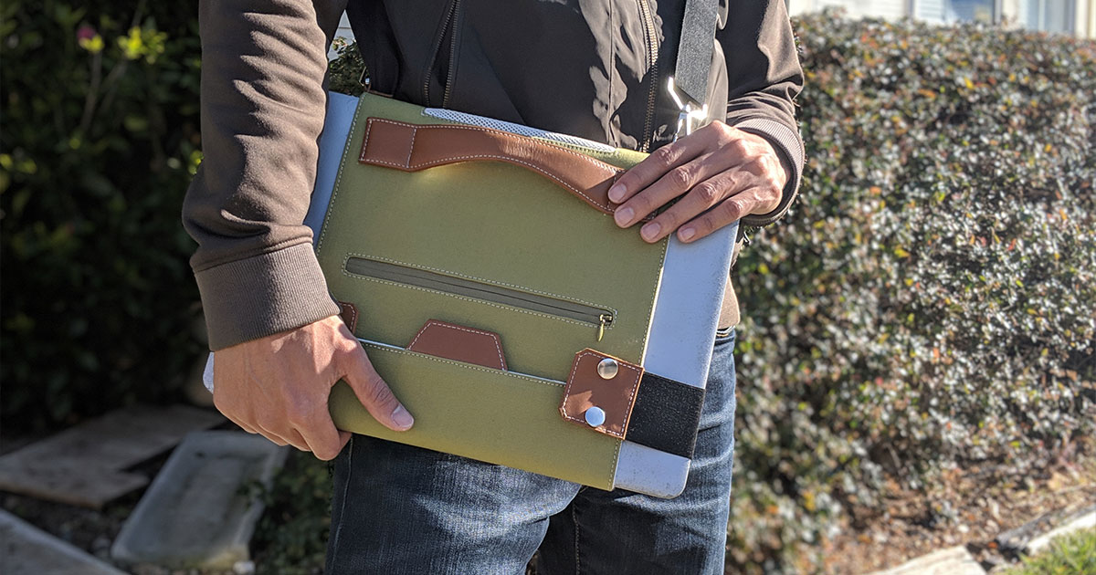 Our first prototype of our ultra-light laptop carrier