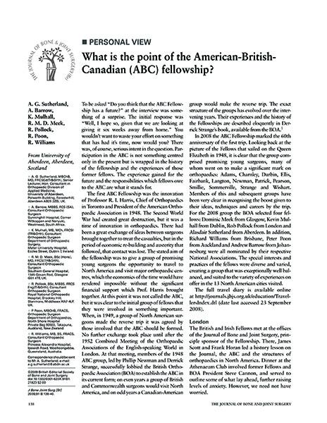 American British Canadian (ABC) fellowship