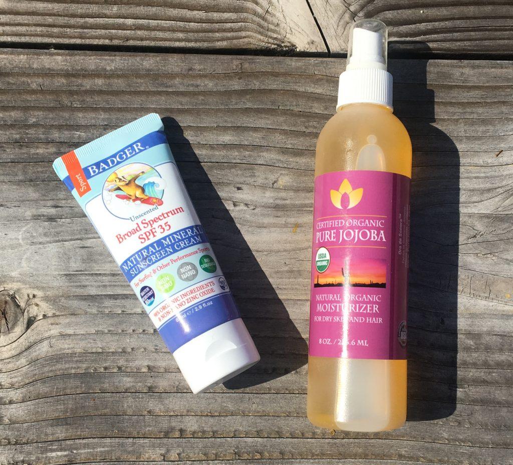 sunscreen and Pure Jojoba Oil