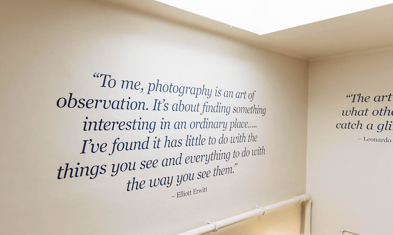 A photo of the vinyl lettering quotes on the walls of Alderley Edge School For Girls