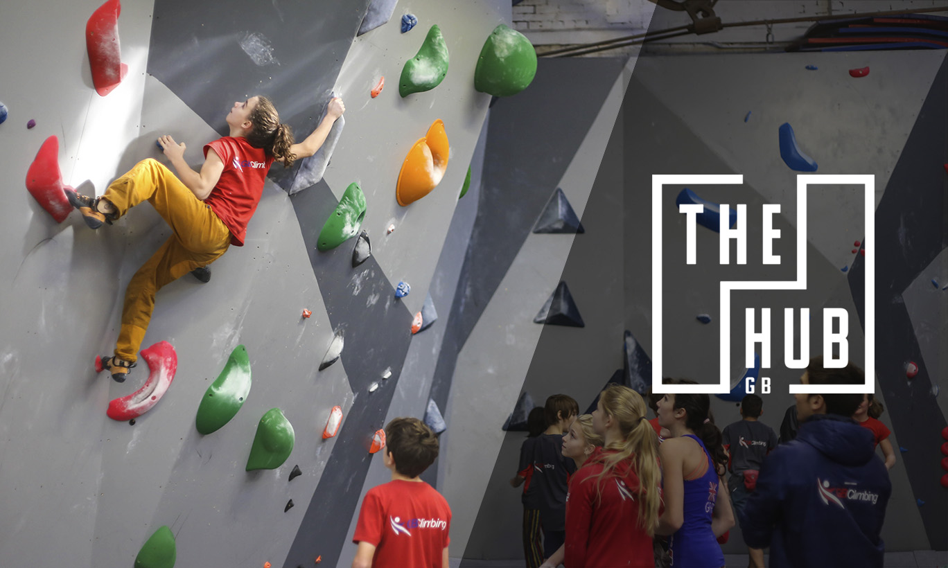 A photo of the Great Britain bouldering youth team climbing in the climbing centre with The Hub logo over the top
