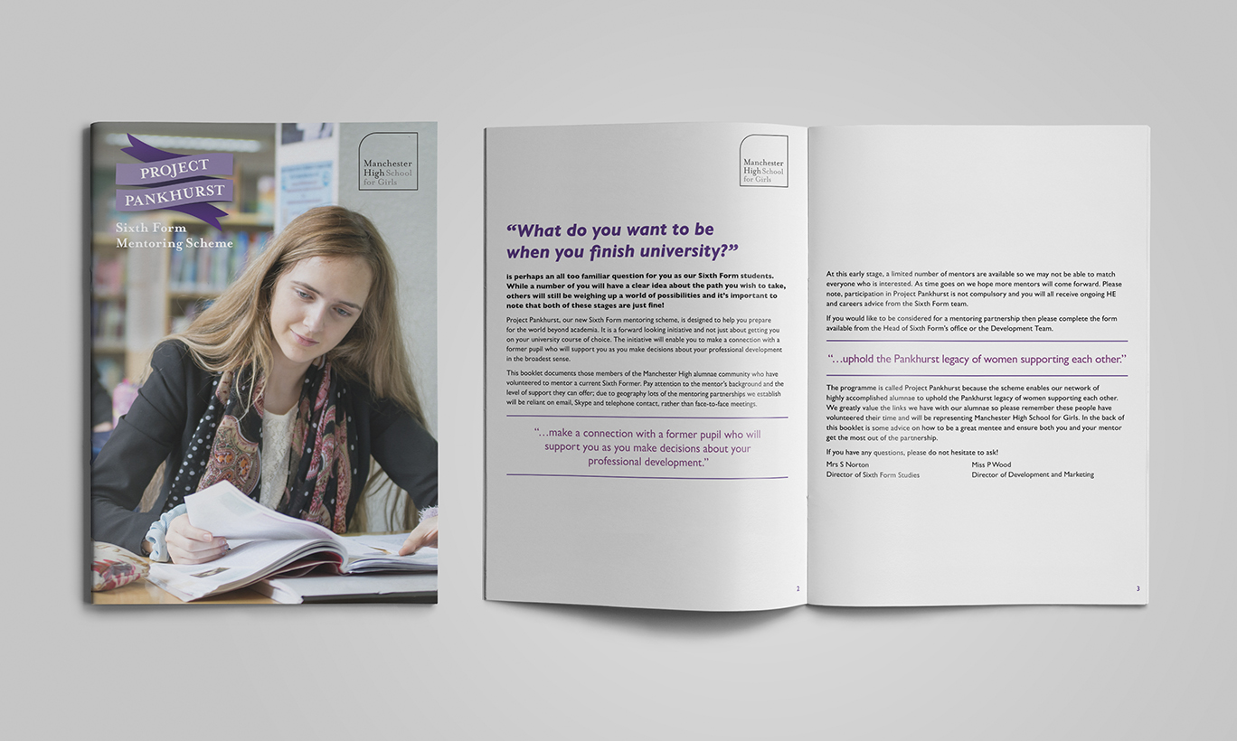 A photo of the outside cover and inside spread from the school's Project Pankhurst printed brochure
