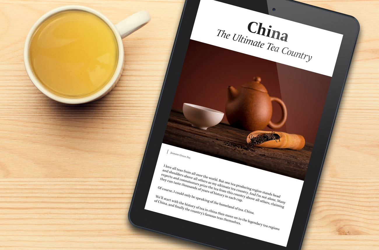 Valley of Tea book on a tablet device with a cup of tea next to it