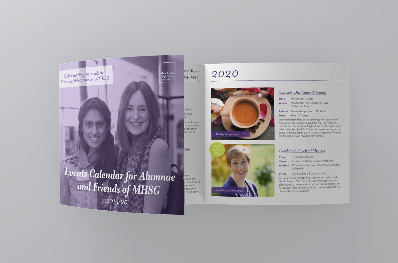An image of the school's event calendar printed booklet