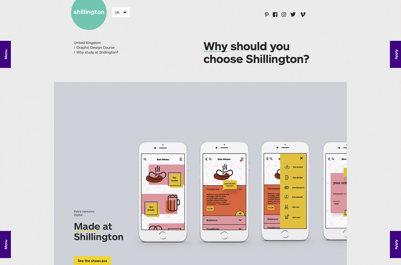 Shillington College Website screenshot