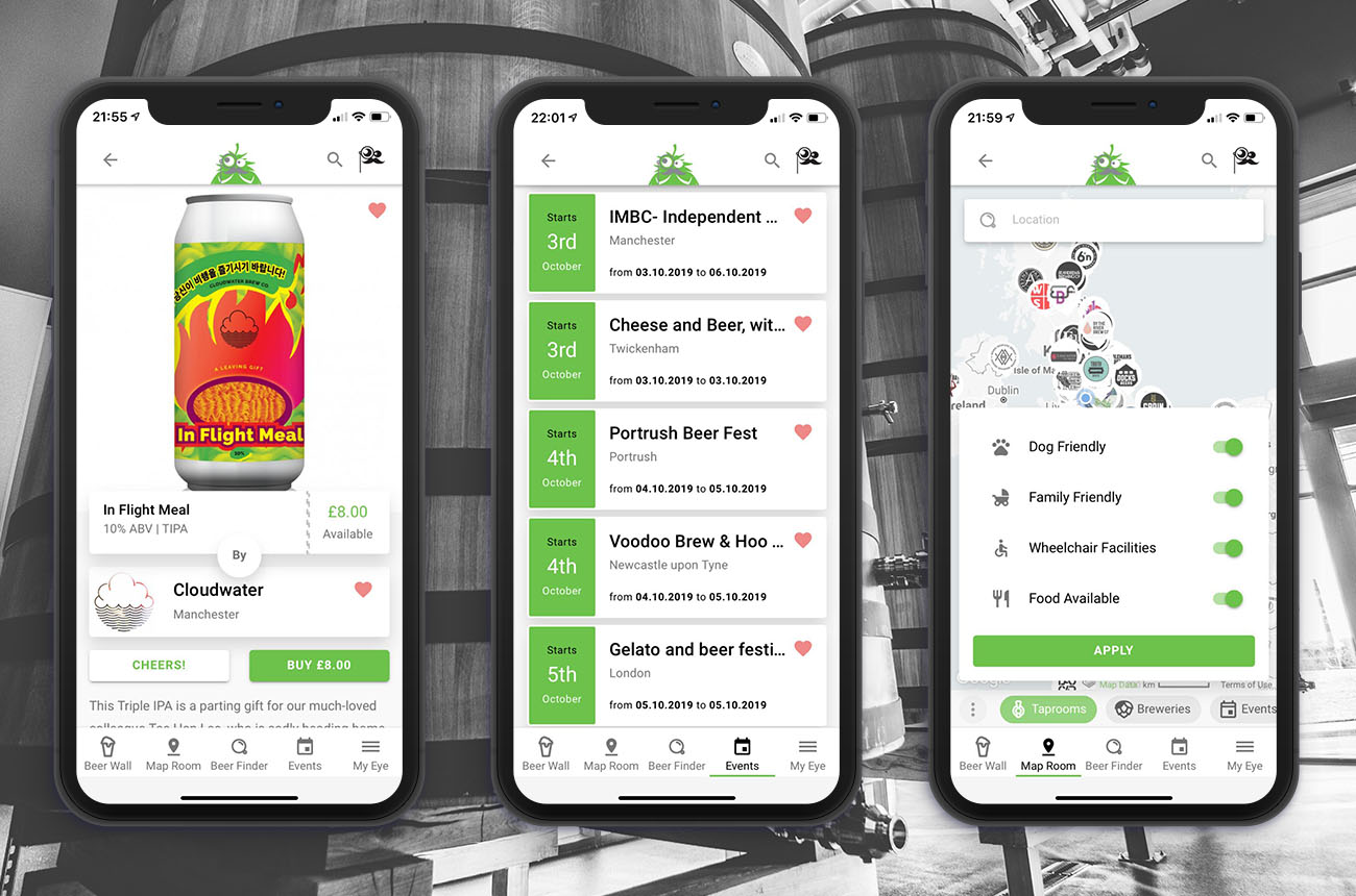 The Brewer's Eye app screenshot examples