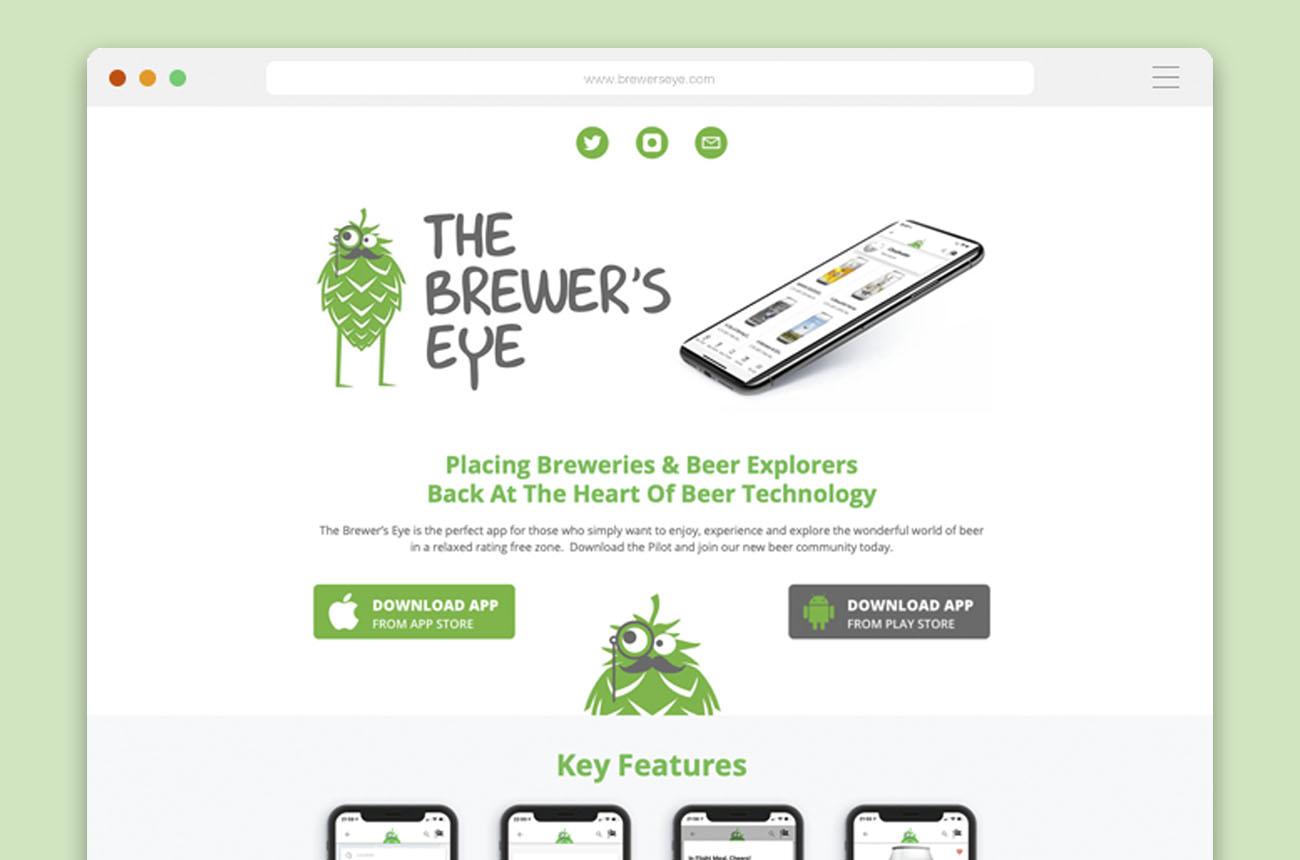 A screenshot of the Brewer's Eye website design